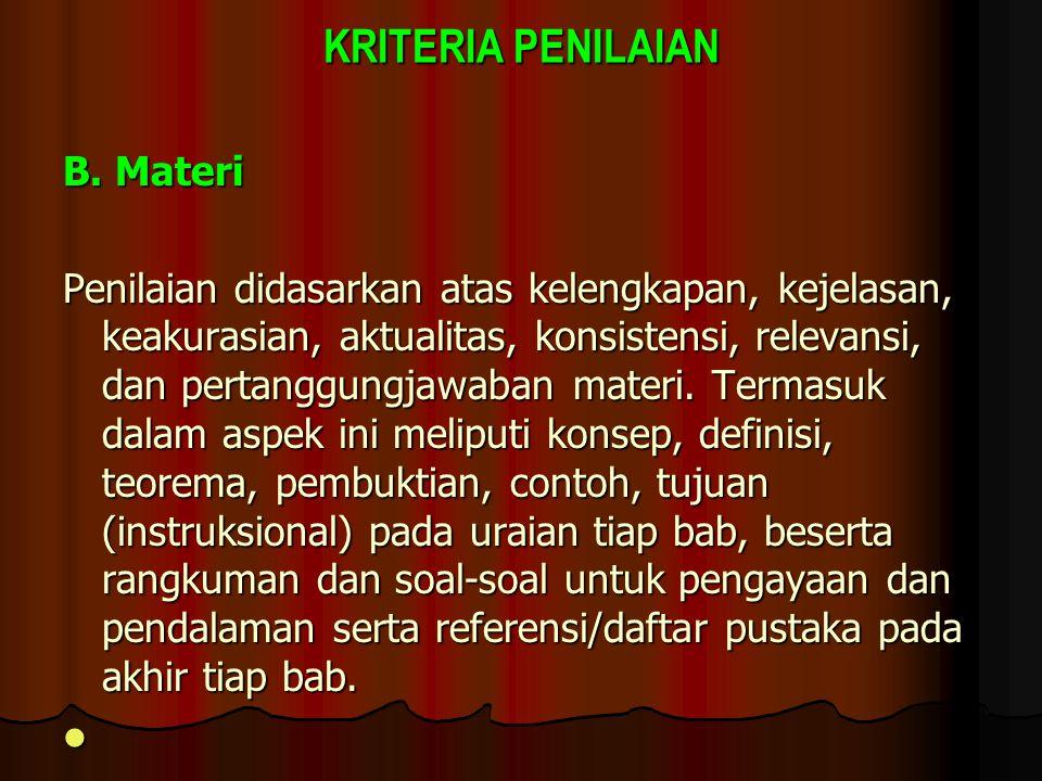 KRITERIA PENILAIAN B. Materi