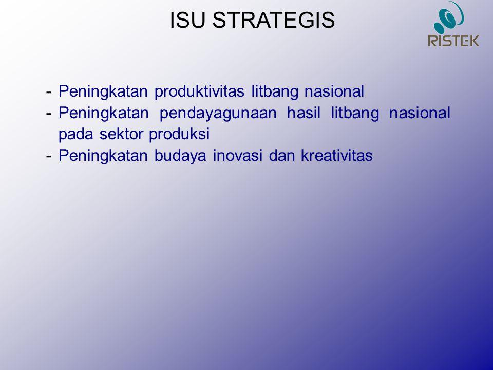 ISU STRATEGIS Peningkatan produktivitas litbang nasional