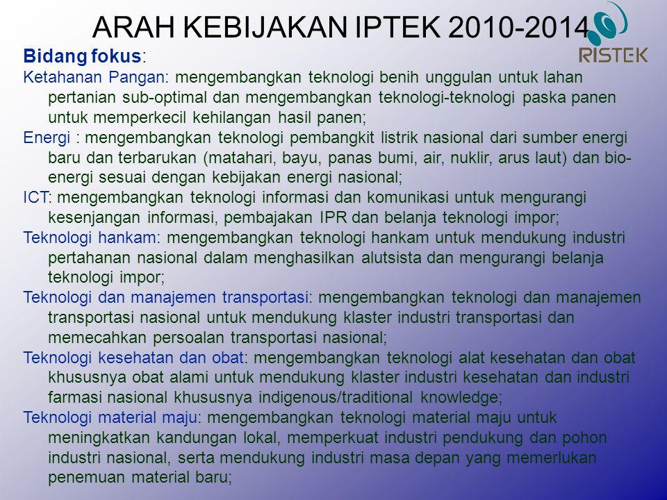 ARAH KEBIJAKAN IPTEK 2010-2014 Bidang fokus: