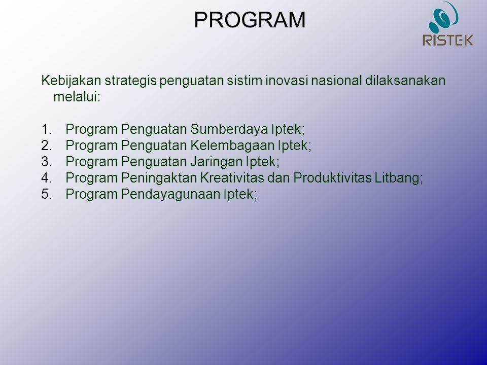 PROGRAM Kebijakan strategis penguatan sistim inovasi nasional dilaksanakan melalui: Program Penguatan Sumberdaya Iptek;