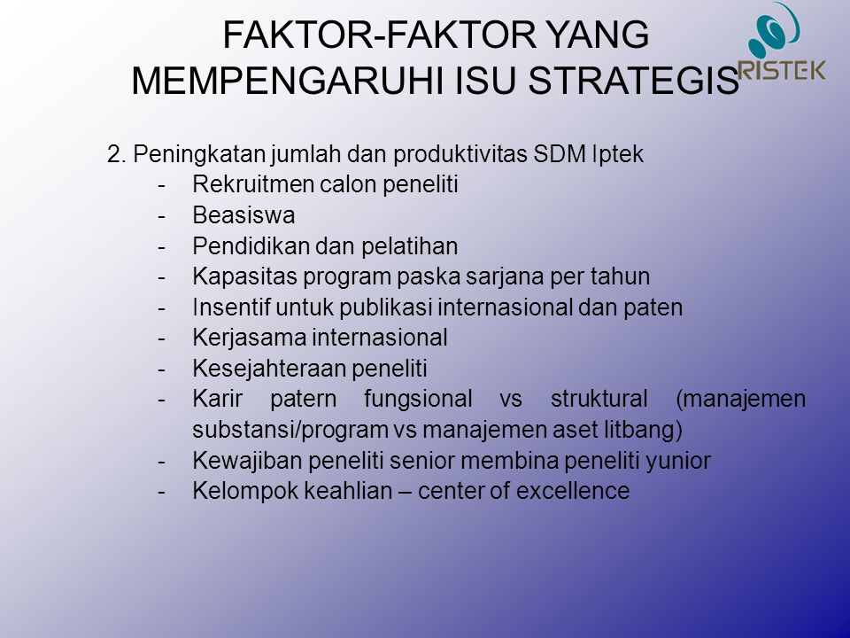 FAKTOR-FAKTOR YANG MEMPENGARUHI ISU STRATEGIS