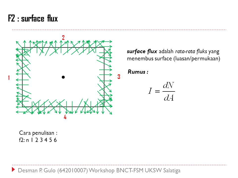 F2 : surface flux 2. surface flux adalah rata-rata fluks yang menembus surface (luasan/permukaan) Rumus :