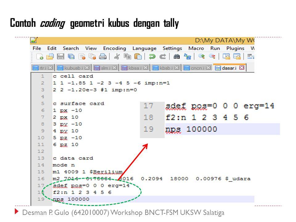 Contoh coding geometri kubus dengan tally