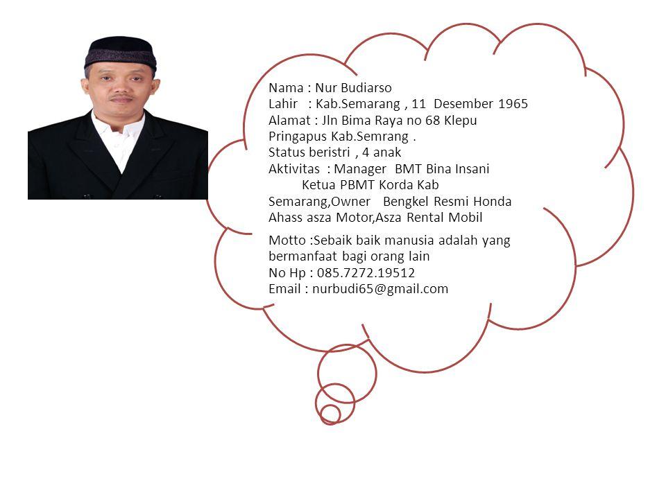 Nama : Nur Budiarso Lahir : Kab