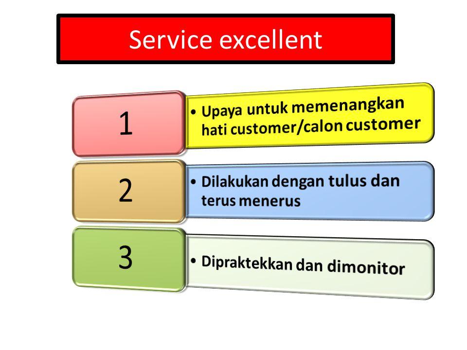 Service excellent 1. Upaya untuk memenangkan hati customer/calon customer. 2. Dilakukan dengan tulus dan terus menerus.