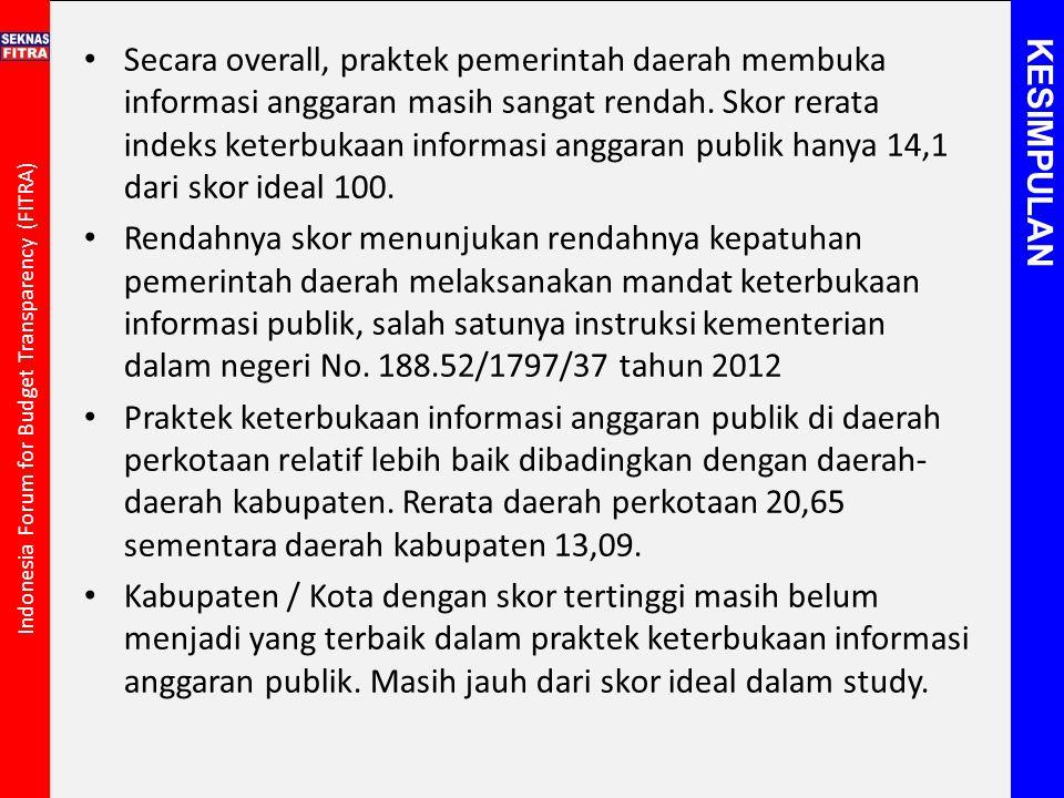 Secara overall, praktek pemerintah daerah membuka informasi anggaran masih sangat rendah. Skor rerata indeks keterbukaan informasi anggaran publik hanya 14,1 dari skor ideal 100.