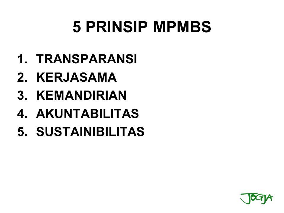 5 PRINSIP MPMBS TRANSPARANSI KERJASAMA KEMANDIRIAN AKUNTABILITAS