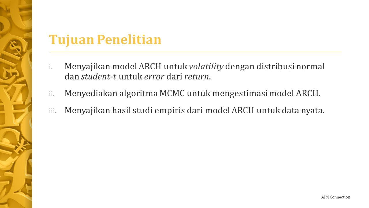 Tujuan Penelitian Menyajikan model ARCH untuk volatility dengan distribusi normal dan student-𝑡 untuk error dari return.