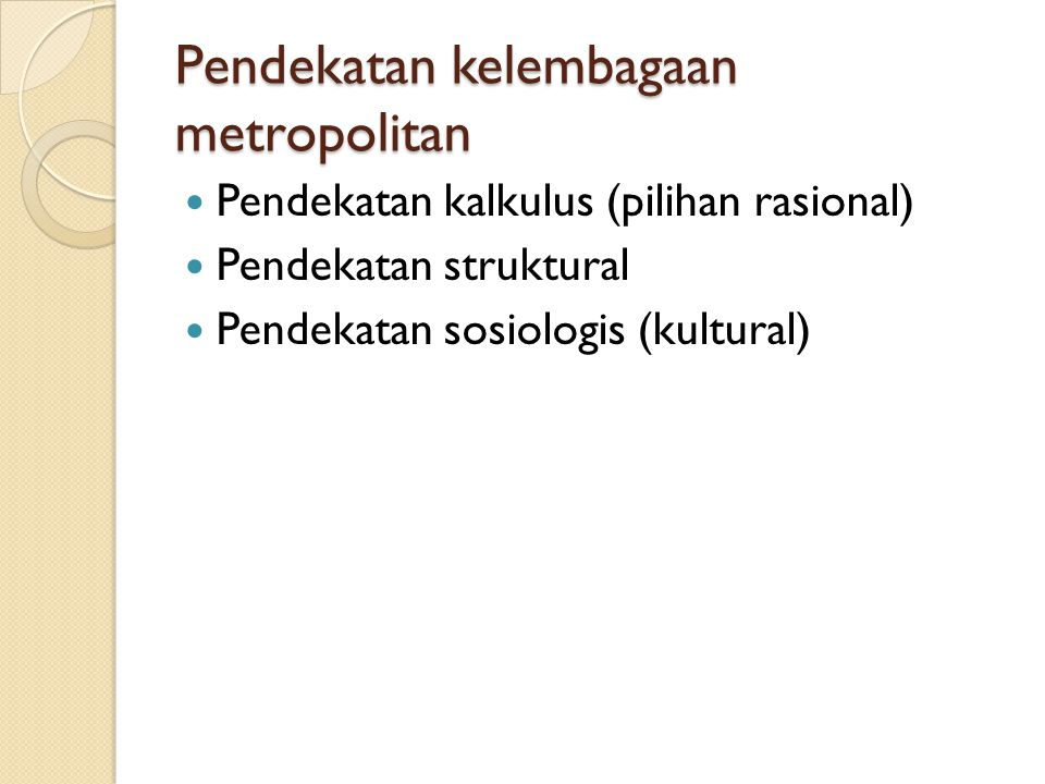 Pendekatan kelembagaan metropolitan