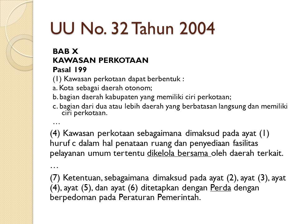 UU No. 32 Tahun 2004 BAB X. KAWASAN PERKOTAAN. Pasal 199. (1) Kawasan perkotaan dapat berbentuk :