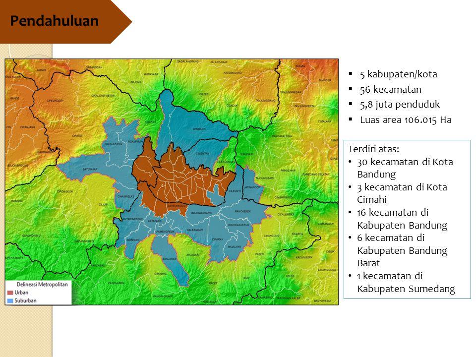Pendahuluan 5 kabupaten/kota 56 kecamatan 5,8 juta penduduk