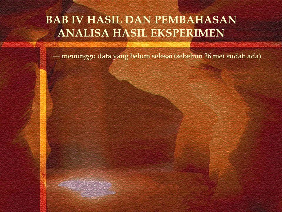 BAB IV HASIL DAN PEMBAHASAN ANALISA HASIL EKSPERIMEN