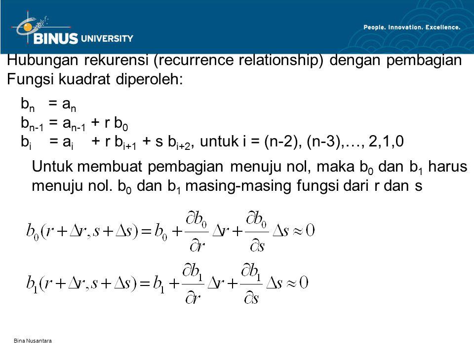Hubungan rekurensi (recurrence relationship) dengan pembagian