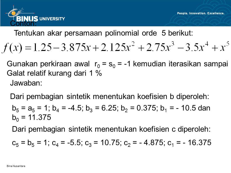 Tentukan akar persamaan polinomial orde 5 berikut: