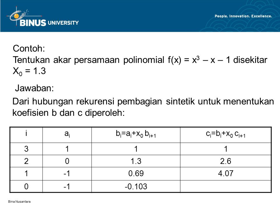 Tentukan akar persamaan polinomial f(x) = x3 – x – 1 disekitar