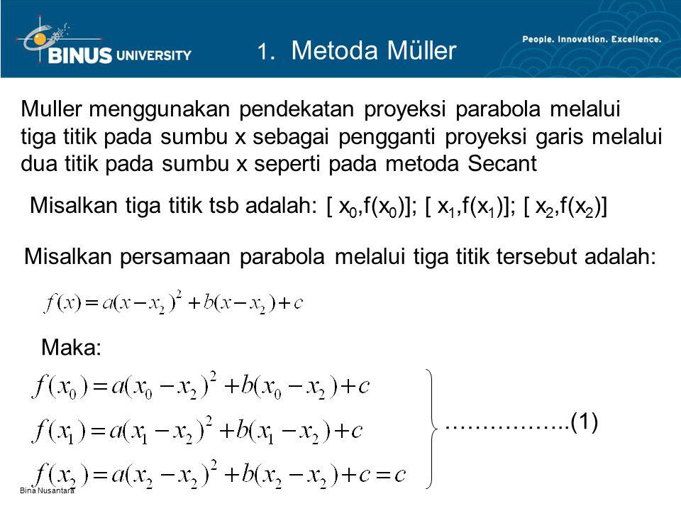 Muller menggunakan pendekatan proyeksi parabola melalui