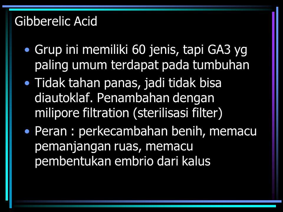 Gibberelic Acid Grup ini memiliki 60 jenis, tapi GA3 yg paling umum terdapat pada tumbuhan.