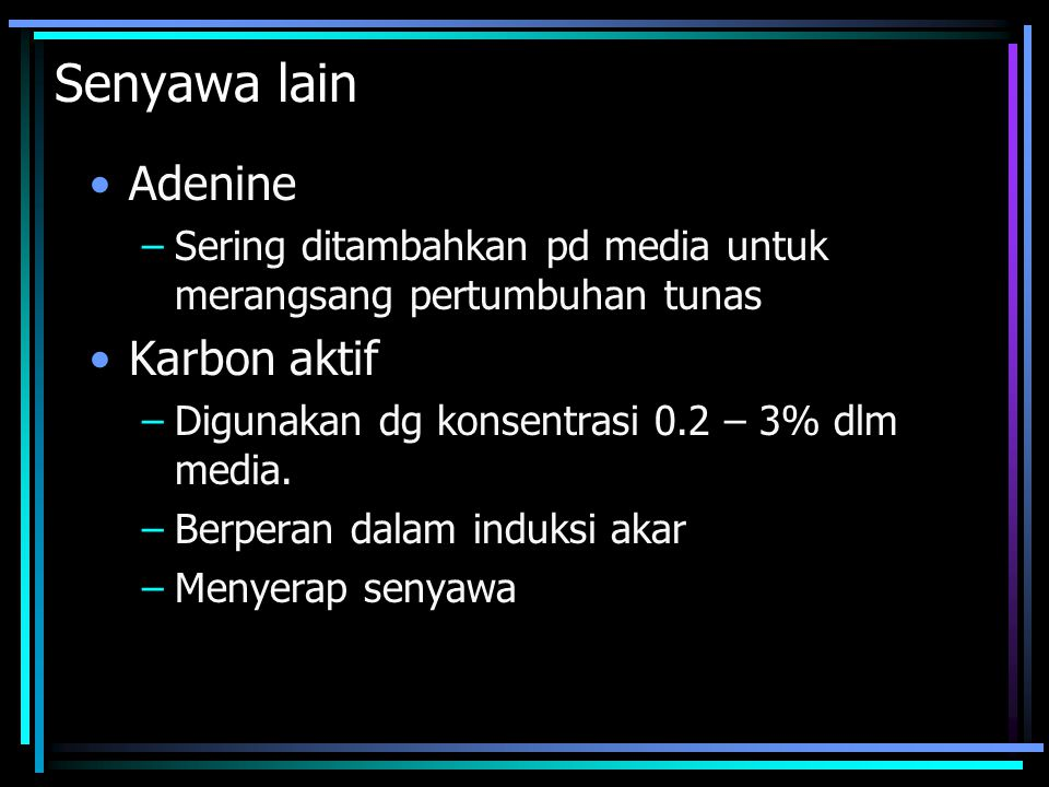 Senyawa lain Adenine Karbon aktif