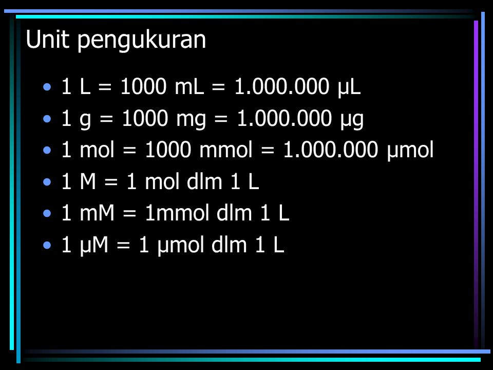 Unit pengukuran 1 L = 1000 mL = 1.000.000 μL