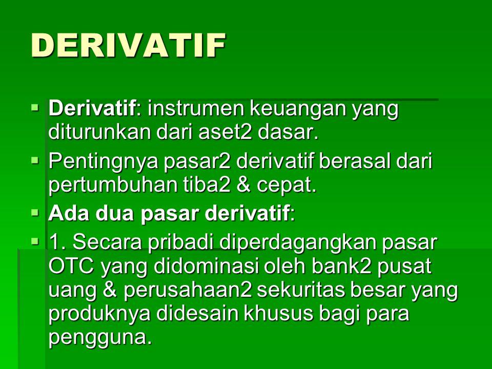 DERIVATIF Derivatif: instrumen keuangan yang diturunkan dari aset2 dasar. Pentingnya pasar2 derivatif berasal dari pertumbuhan tiba2 & cepat.