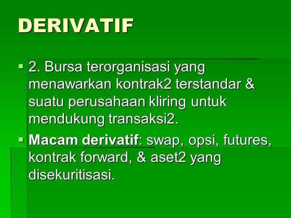 DERIVATIF 2. Bursa terorganisasi yang menawarkan kontrak2 terstandar & suatu perusahaan kliring untuk mendukung transaksi2.