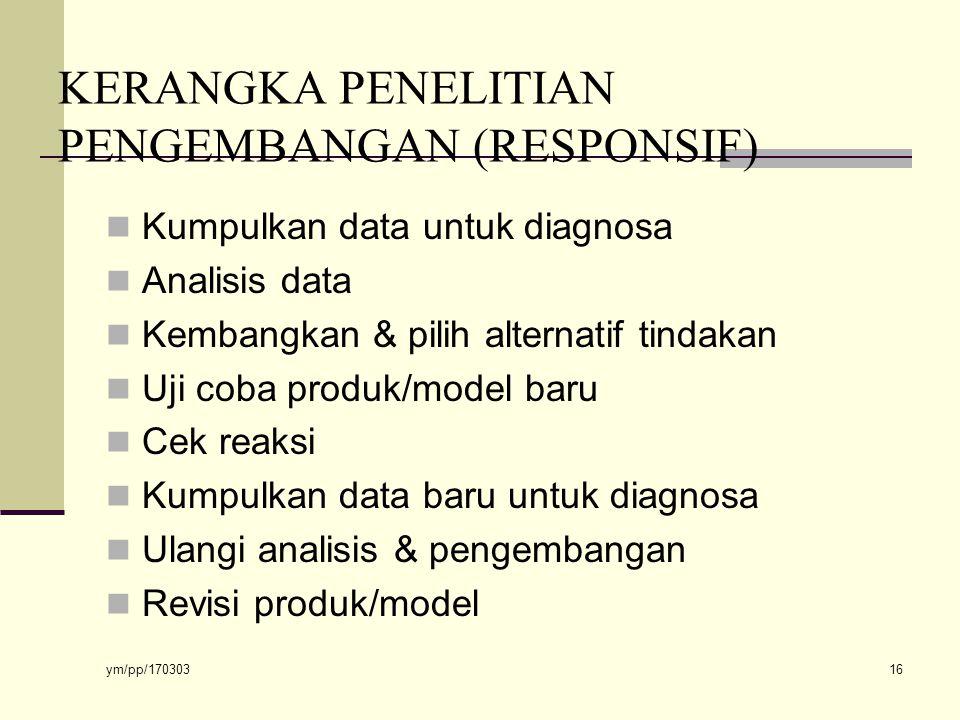KERANGKA PENELITIAN PENGEMBANGAN (RESPONSIF)