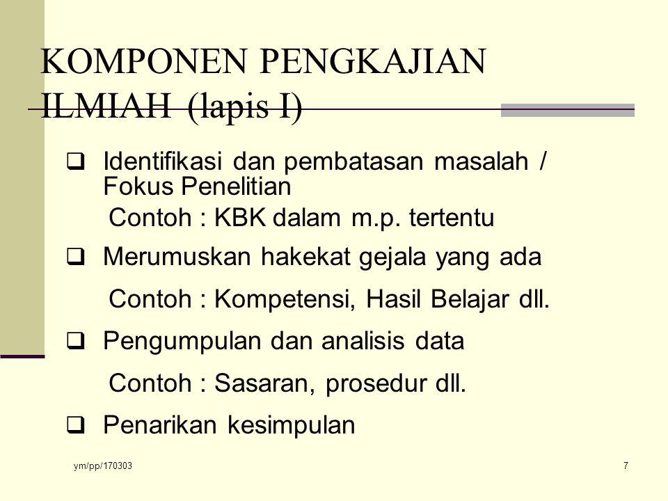KOMPONEN PENGKAJIAN ILMIAH (lapis I)