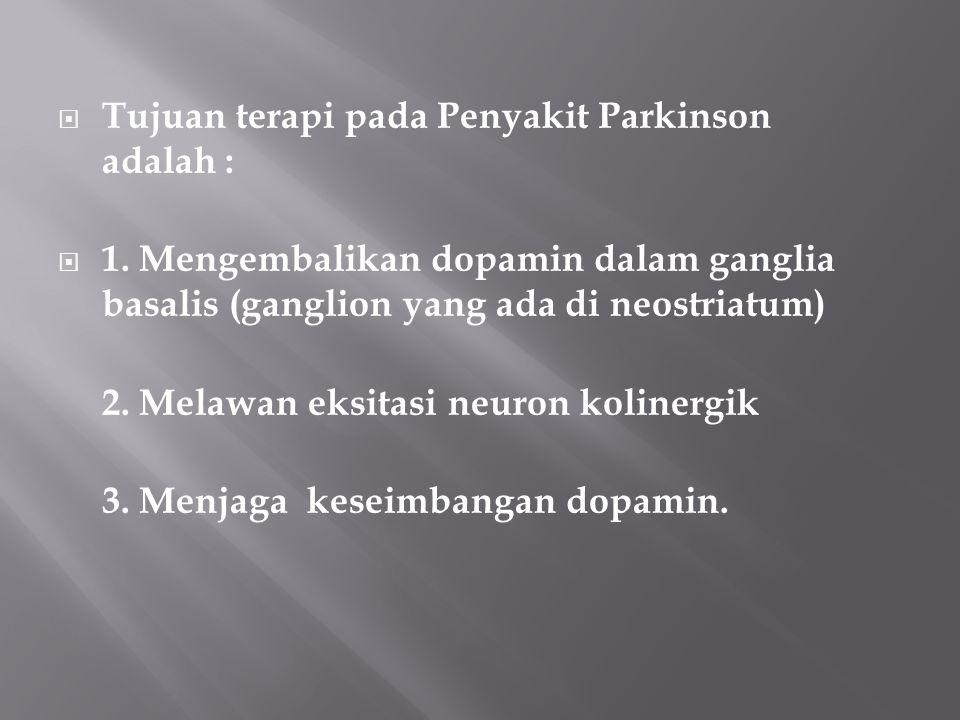 Tujuan terapi pada Penyakit Parkinson adalah :