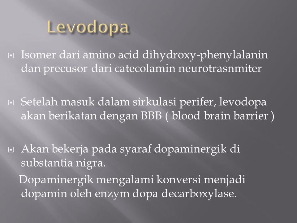 Levodopa Isomer dari amino acid dihydroxy-phenylalanin dan precusor dari catecolamin neurotrasnmiter.