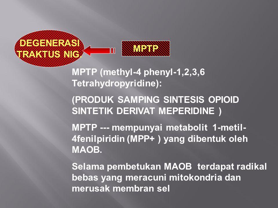 DEGENERASI TRAKTUS NIG. MPTP. MPTP (methyl-4 phenyl-1,2,3,6 Tetrahydropyridine): (PRODUK SAMPING SINTESIS OPIOID SINTETIK DERIVAT MEPERIDINE )