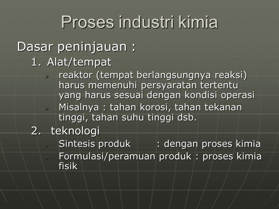 Proses industri kimia Dasar peninjauan : Alat/tempat teknologi