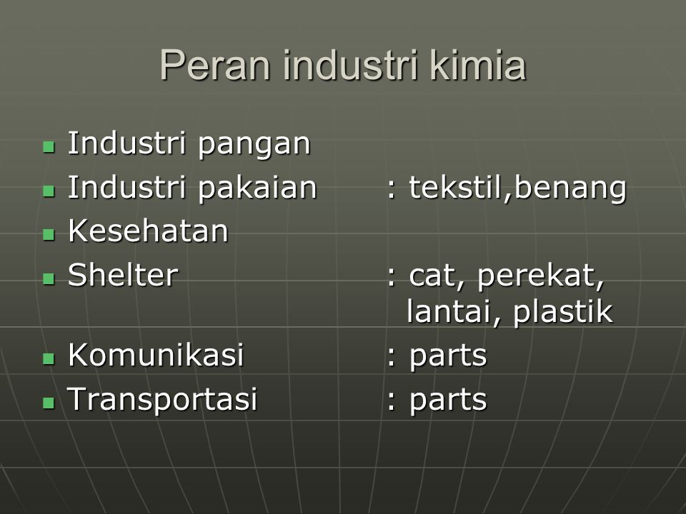 Peran industri kimia Industri pangan Industri pakaian : tekstil,benang