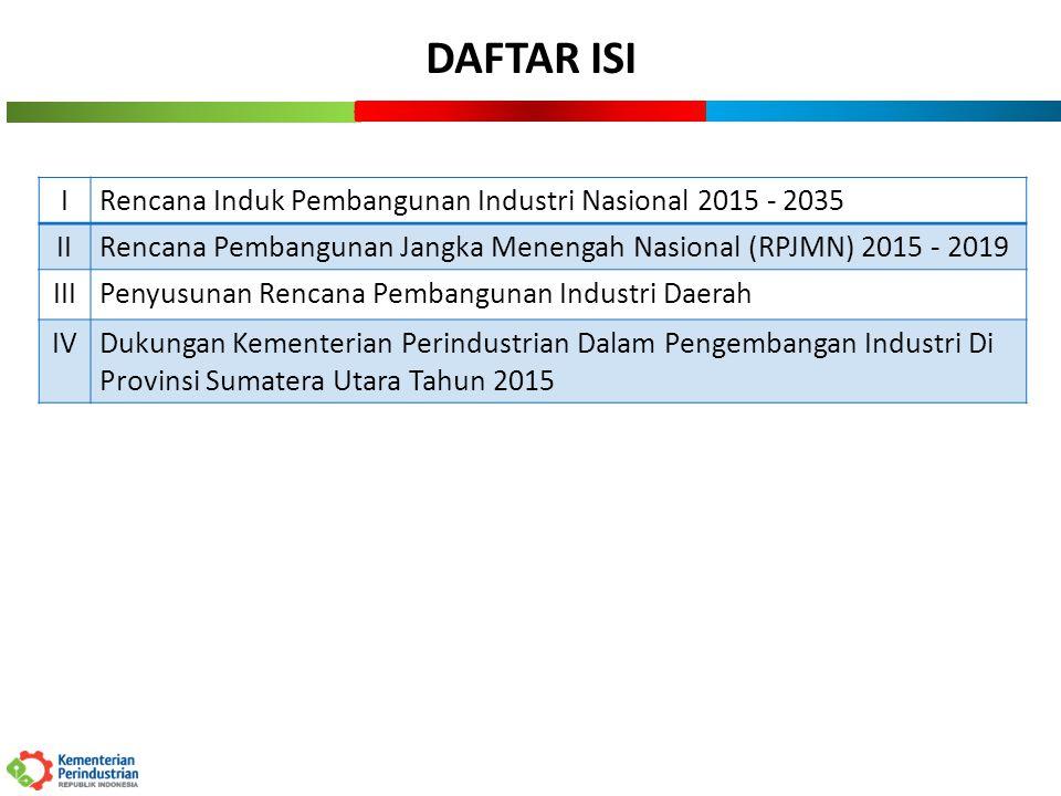 DAFTAR ISI I Rencana Induk Pembangunan Industri Nasional 2015 - 2035