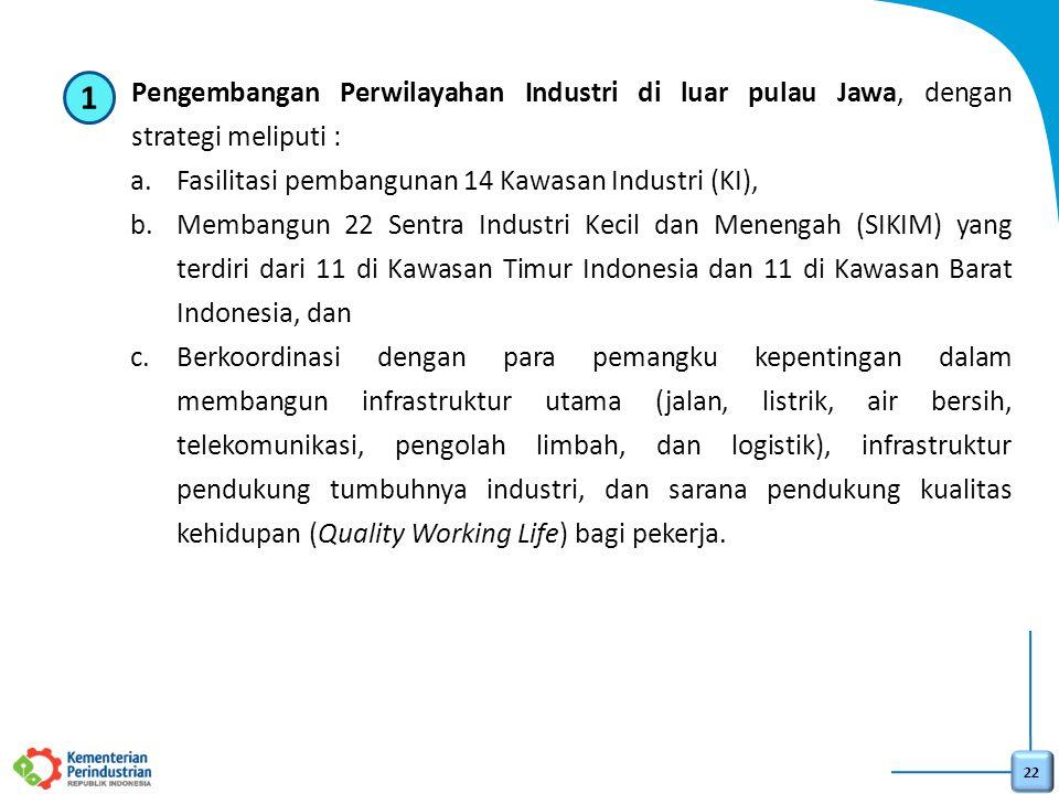 Pengembangan Perwilayahan Industri di luar pulau Jawa, dengan strategi meliputi :