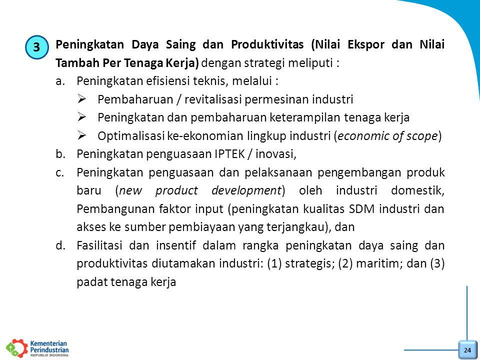 3 Peningkatan Daya Saing dan Produktivitas (Nilai Ekspor dan Nilai Tambah Per Tenaga Kerja) dengan strategi meliputi :