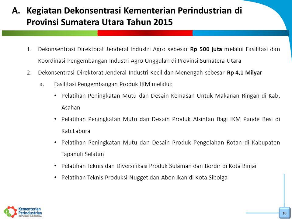 Kegiatan Dekonsentrasi Kementerian Perindustrian di Provinsi Sumatera Utara Tahun 2015
