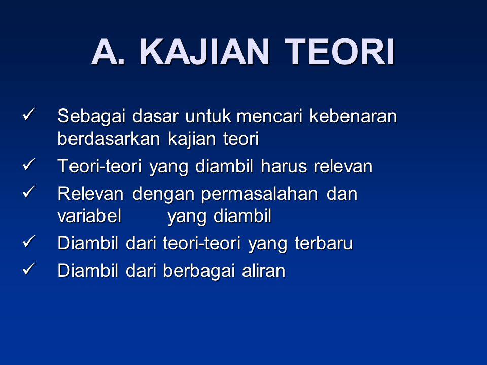 A. KAJIAN TEORI Sebagai dasar untuk mencari kebenaran berdasarkan kajian teori. Teori-teori yang diambil harus relevan.