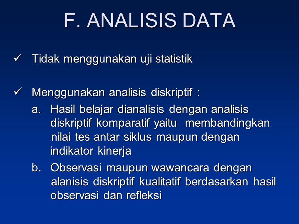F. ANALISIS DATA Tidak menggunakan uji statistik
