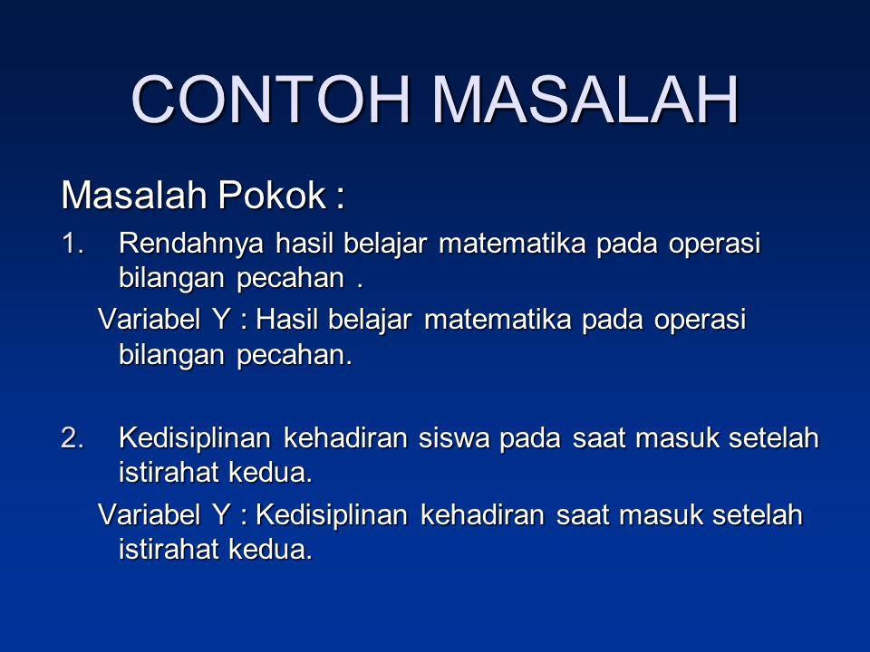 CONTOH MASALAH Masalah Pokok :
