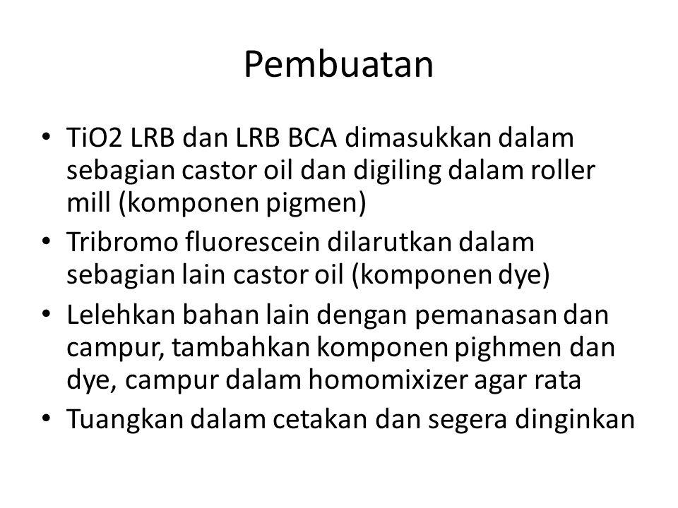 Pembuatan TiO2 LRB dan LRB BCA dimasukkan dalam sebagian castor oil dan digiling dalam roller mill (komponen pigmen)