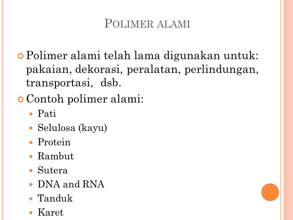 Polimer alami Polimer alami telah lama digunakan untuk: pakaian, dekorasi, peralatan, perlindungan, transportasi, dsb.