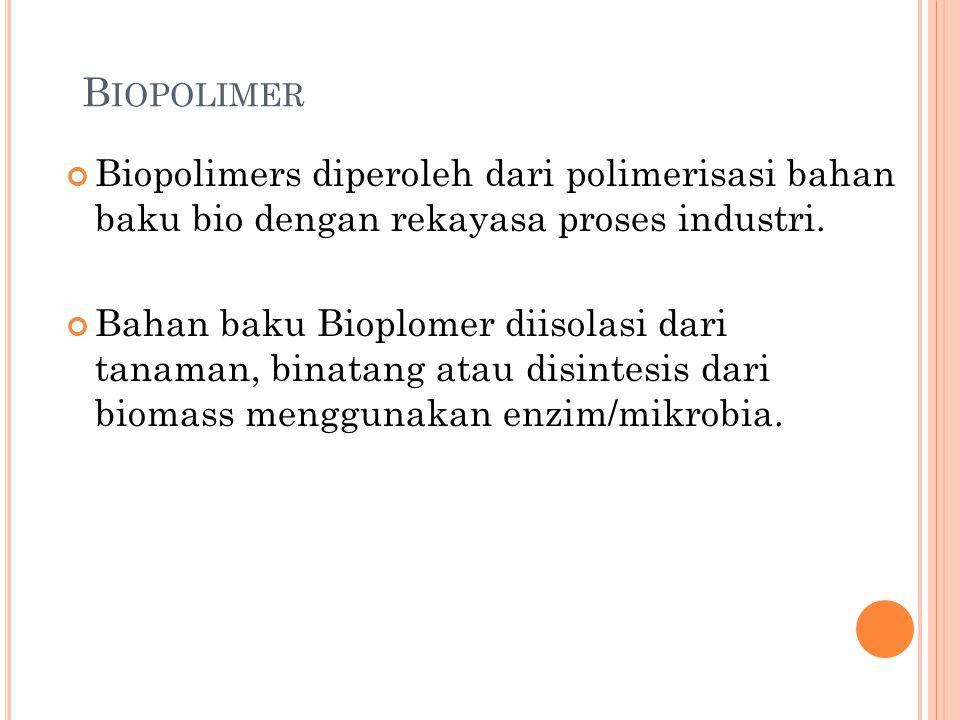 Biopolimer Biopolimers diperoleh dari polimerisasi bahan baku bio dengan rekayasa proses industri.