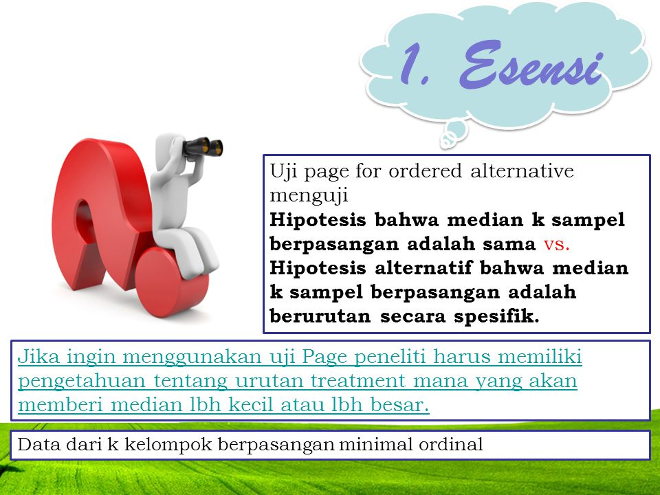 1. Esensi Uji page for ordered alternative menguji