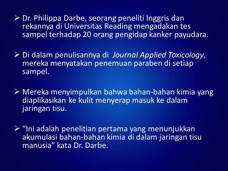 Dr. Philippa Darbe, seorang peneliti Inggris dan rekannya di Universitas Reading mengadakan tes sampel terhadap 20 orang pengidap kanker payudara.