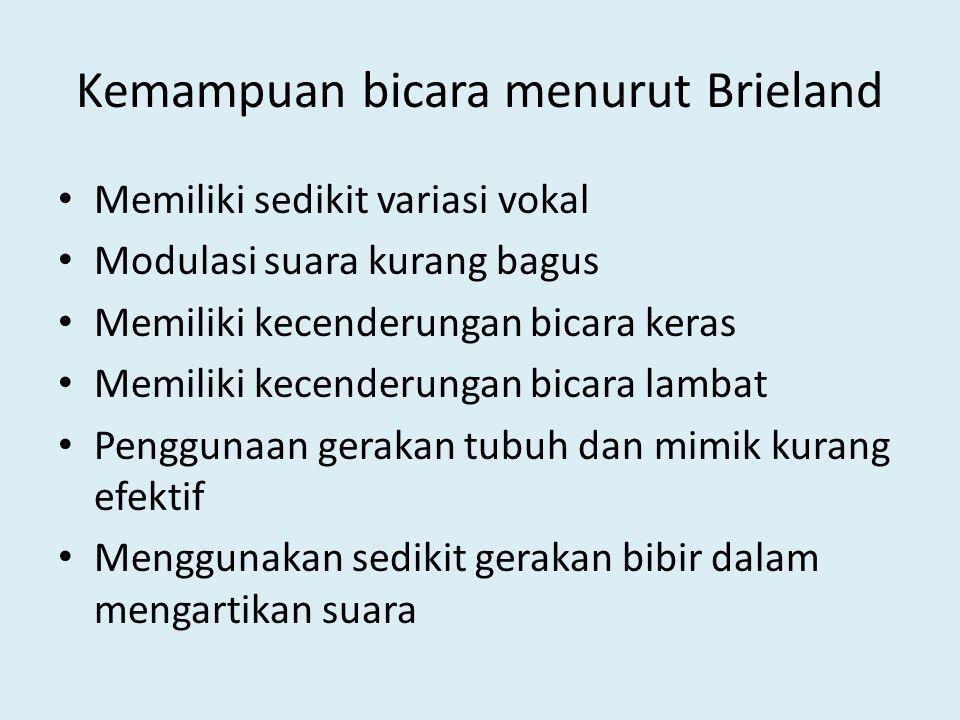 Kemampuan bicara menurut Brieland