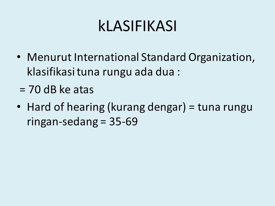 kLASIFIKASI Menurut International Standard Organization, klasifikasi tuna rungu ada dua : = 70 dB ke atas.
