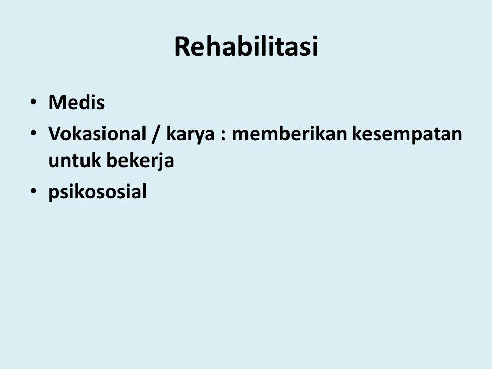 Rehabilitasi Medis Vokasional / karya : memberikan kesempatan untuk bekerja psikososial