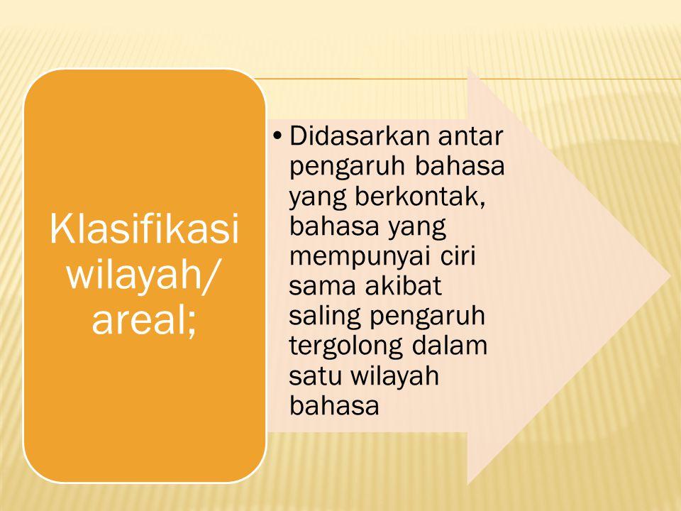 Klasifikasi wilayah/ areal;