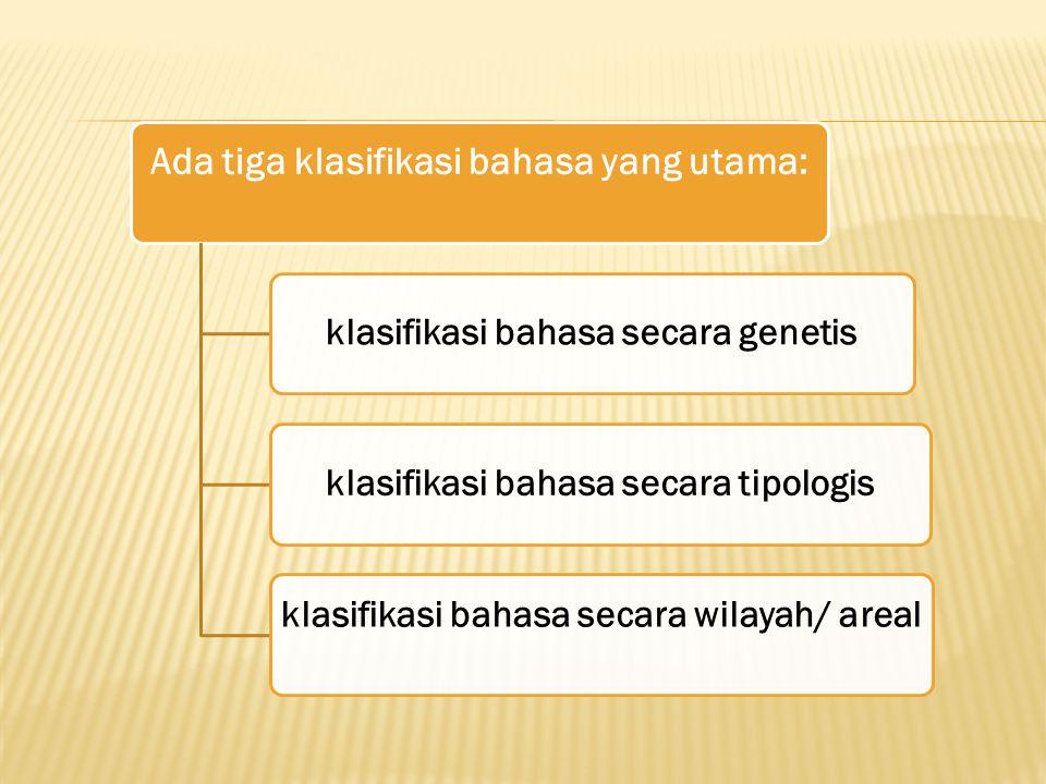 Ada tiga klasifikasi bahasa yang utama: