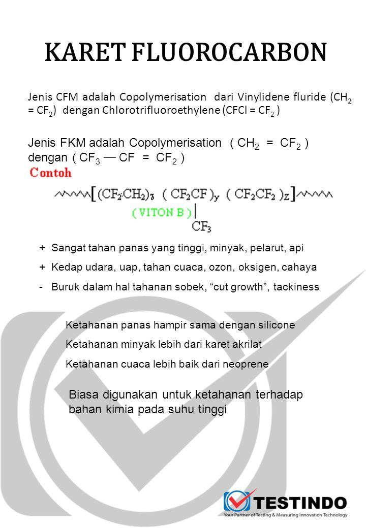 KARET FLUOROCARBON Jenis CFM adalah Copolymerisation dari Vinylidene fluride (CH2 = CF2) dengan Chlorotrifluoroethylene (CFCl = CF2 )
